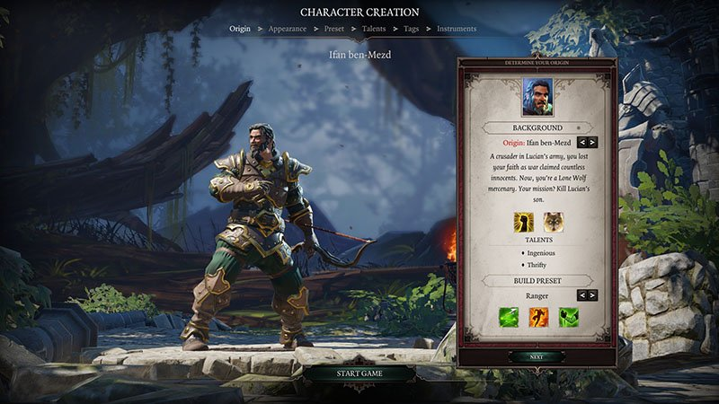 character creation menu of divinity original sin 2